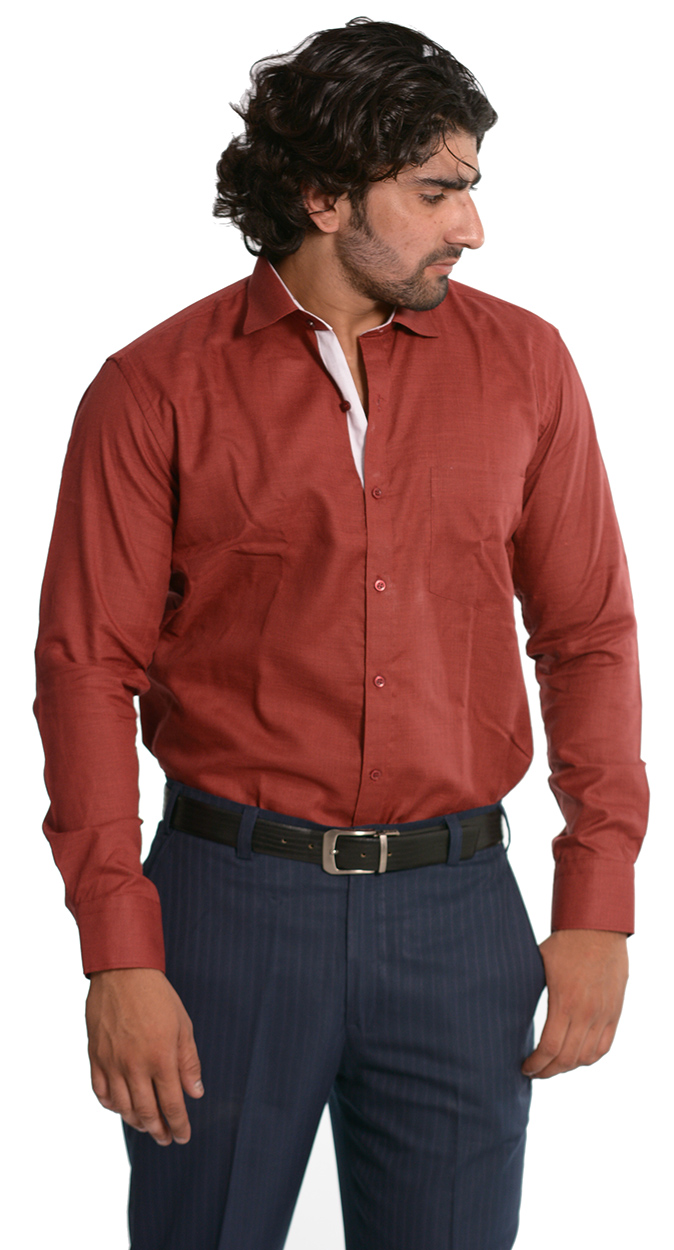 Skybe Men's Solid Maroon Casual Shirt