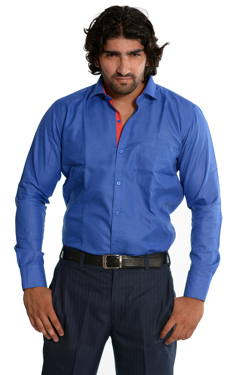 Skybe Men's Solid Blue Casual Shirt