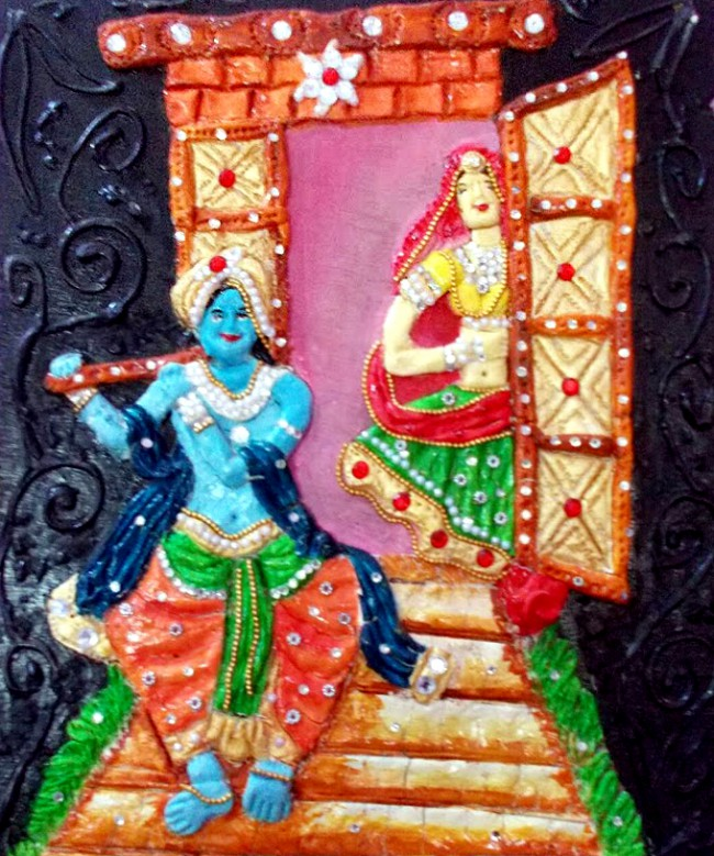 Lord Krishna with a flute   Mural