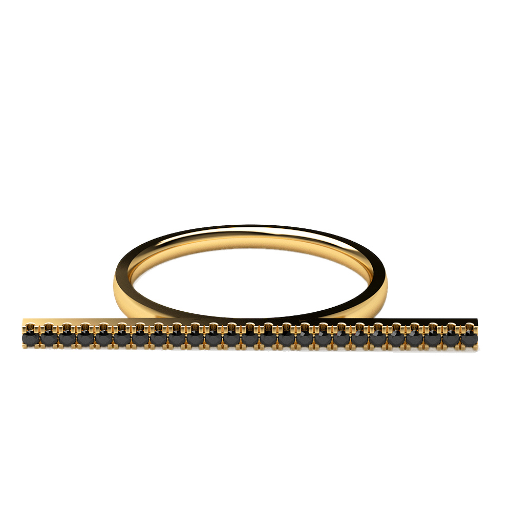 Real Diamonds   Hallmarked 14Kt Yellow Gold   Black Dia Ring La 32 14Kt