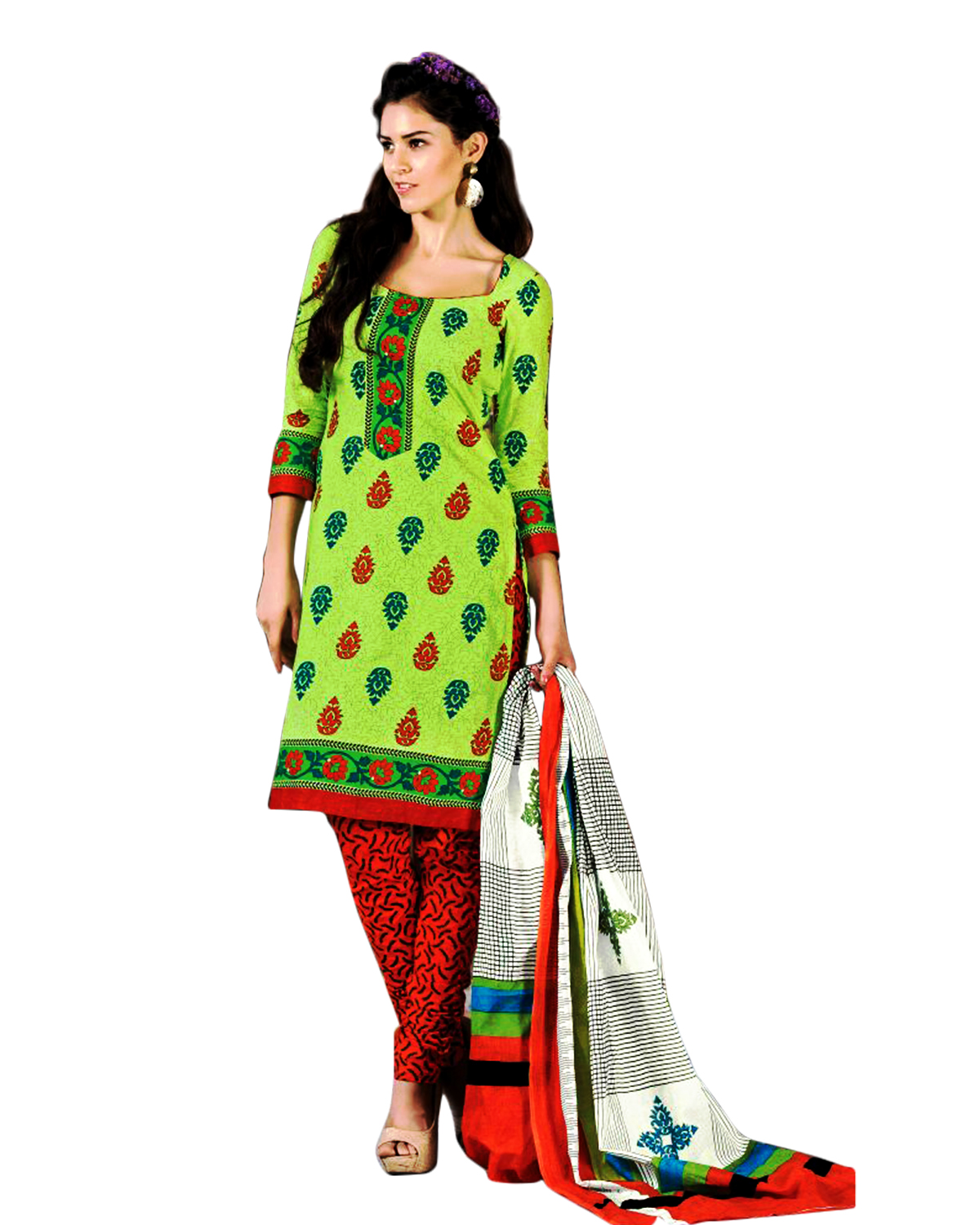 Drapes Red And Green Cotton Printed Salwar Suit Dress Material  Unstitched