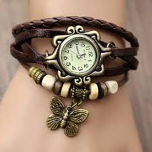 Casual analog watch for girl brown