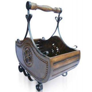 khan handicrafts Wooden   Iron magazine holder
