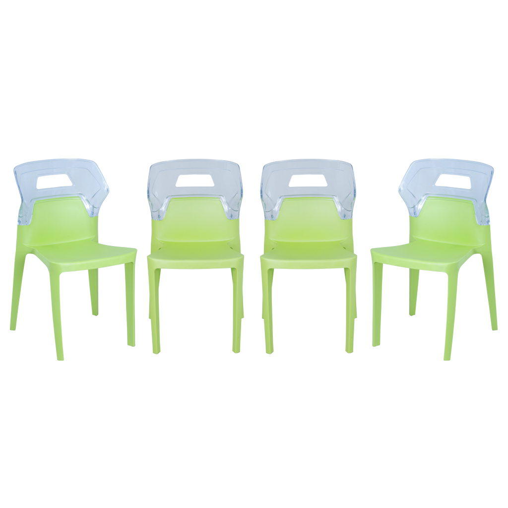 Aura Set of 4 Fluorescent Green Plastic Cafeteria Dining Chairs by Swagath