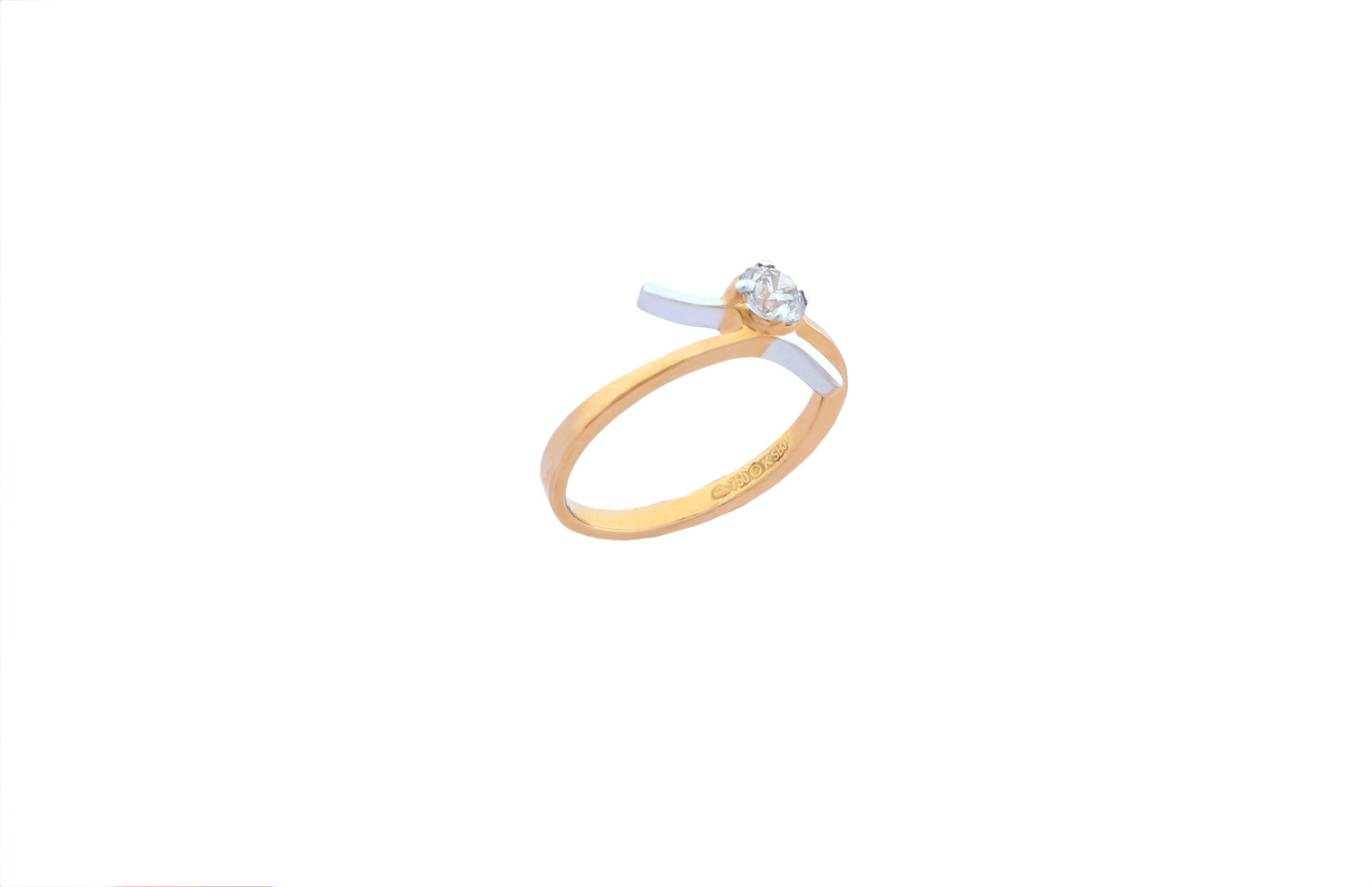 0.43 CT ROUND CUT SI CLARITY DIAMOND SOLITAIRE ENGAGEMENT RING 18KT YELLOW GOLD