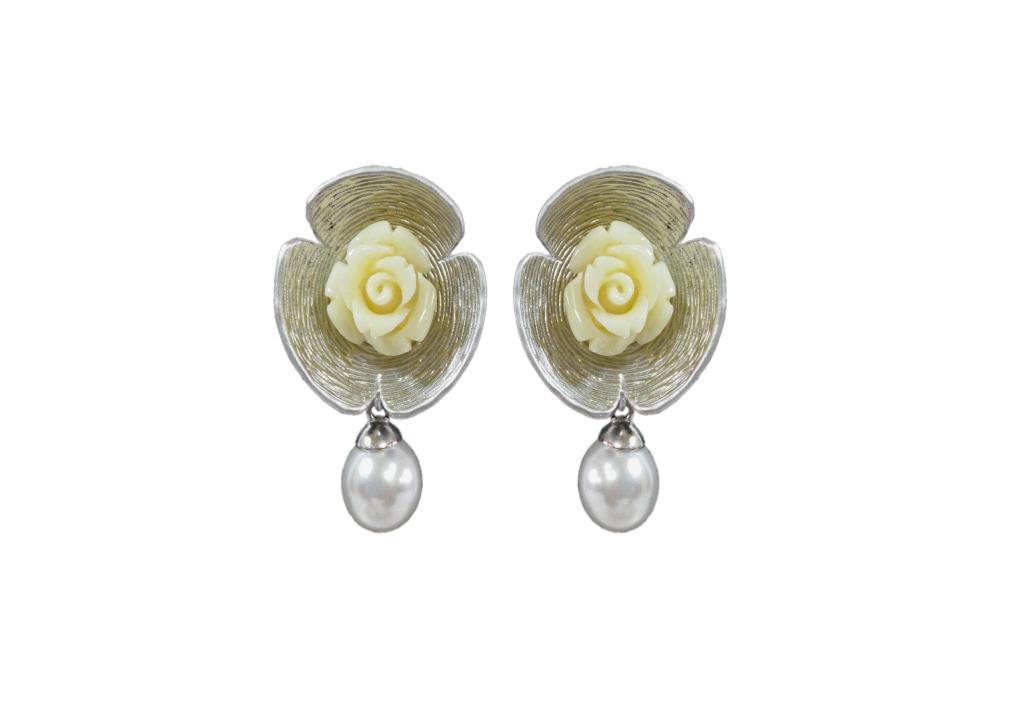 Kyria Silver Alloy Pearl Drop Earrings