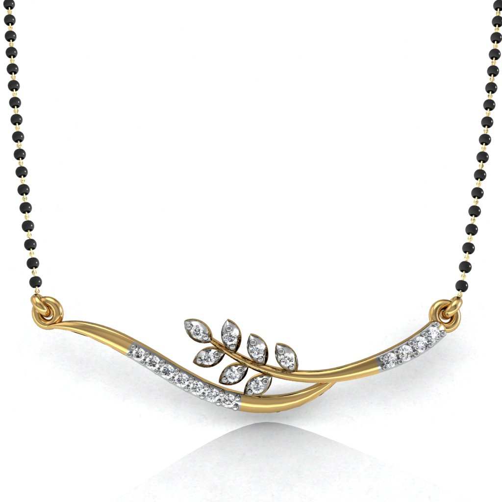 Mani Jewel 14kt Certified Diamond Mangalsutra Design 7 Free Special Heart Pendant In Sterling Silver Worth Rs 1733