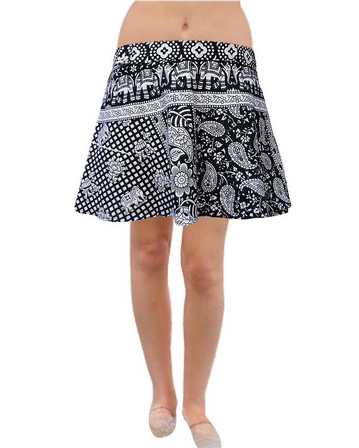 Pezzava: Elephant Design Women's Wear Cotton Short Mini Skirt SKT-WMC-A0028