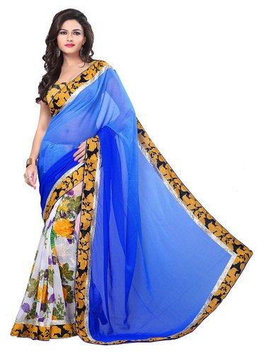Sanskruti Blue   White Silk Graphic Print Saree With Blouse
