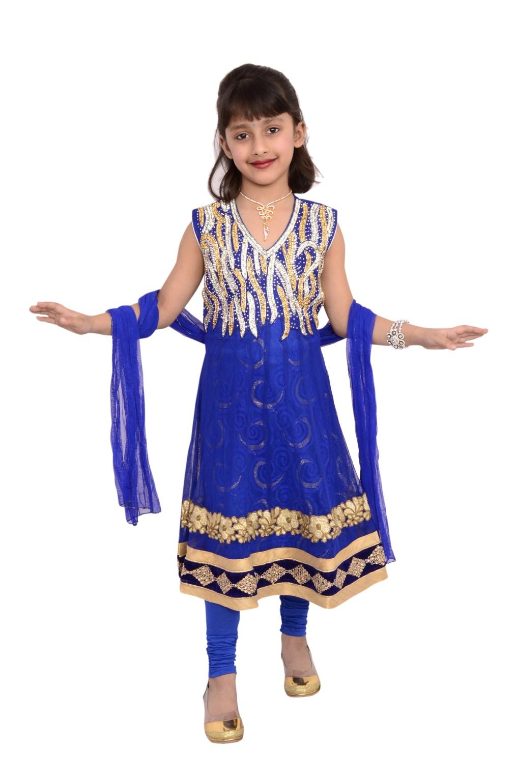 9b1ab990737b Ethnic Designer Kids Girl Anarkali Salwar Kameez Dress embroidered suit