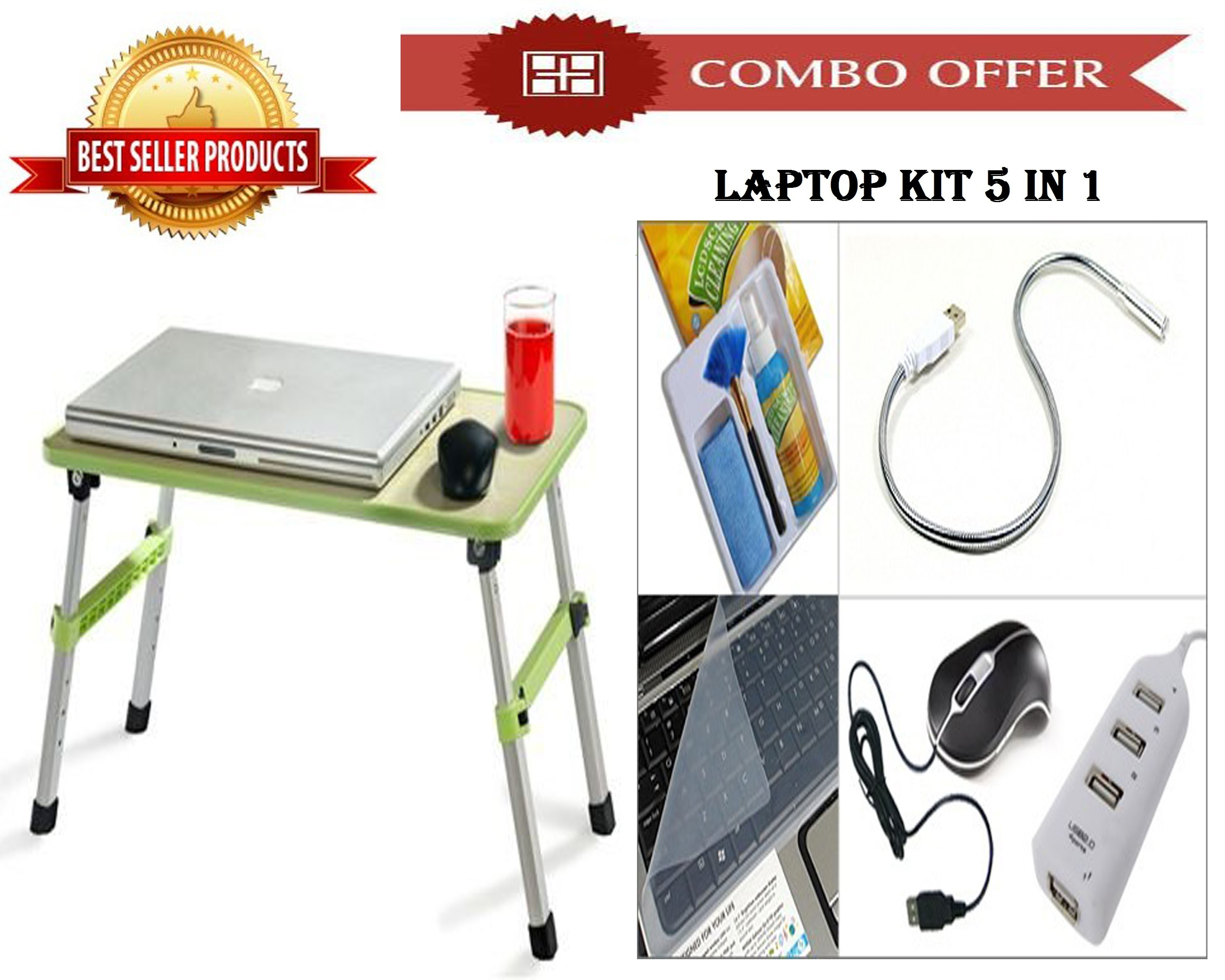 Special Combo Offer! High Quality Study Table + Laptop Kit 5 In 1 - CMHQKIT
