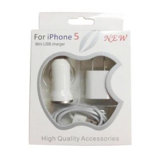 Apple Iphone5 3 In 1 Charger Kit With Vihical Travalar Port And USB Cable