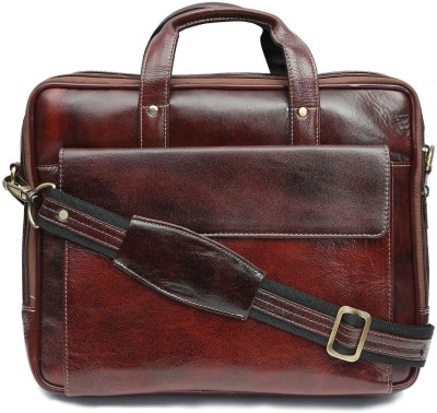 WildHide 14 inch Laptop Messenger Bag Brown in color Genuine Leather 350 g