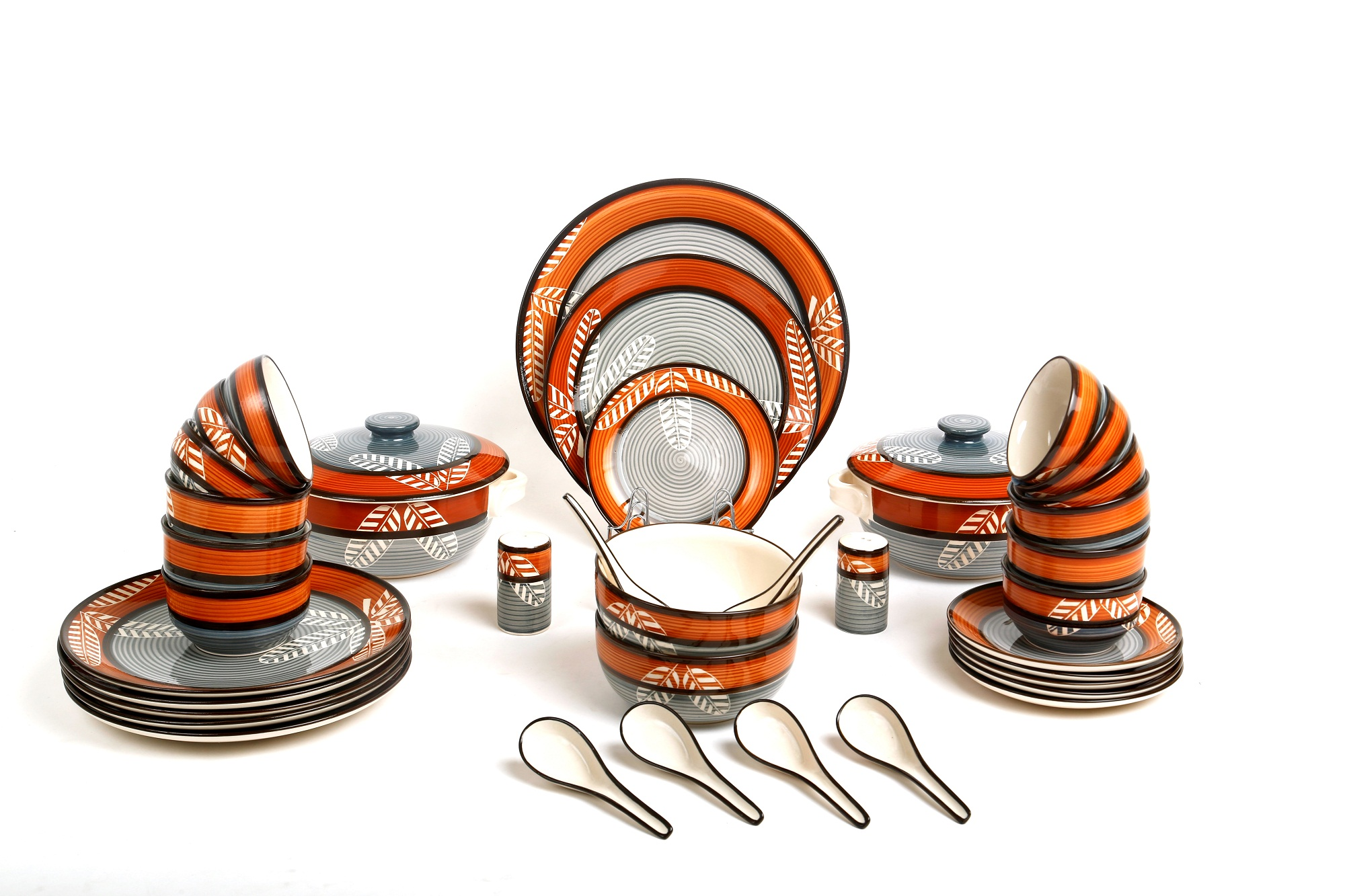 Caffeine Ceramic Handmade Leaf Print Engraved Orange and Black Dinner Set at shopclues
