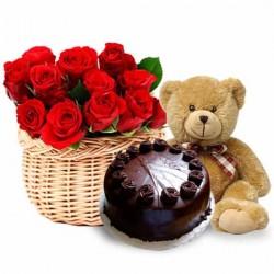20 red roses basket teddy halg kg cake