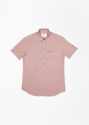 John Players Men Striped Casual Shirt Sleeve Half Sleeve Fabric Linen Blend