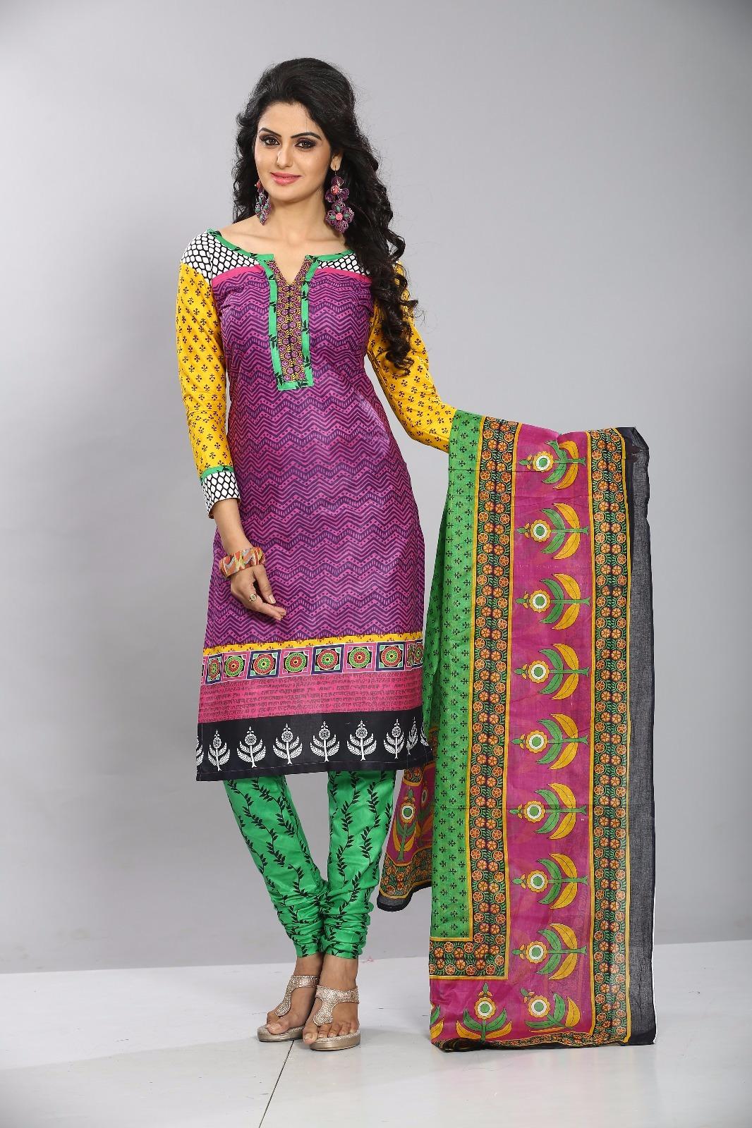dellis Cotton Printed Salwar Suit Dupatta Material