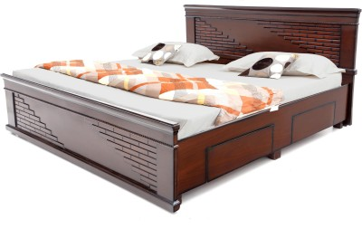 Sr Furniture Engineered Wood King Bed With Storage Finish Color   Walnut