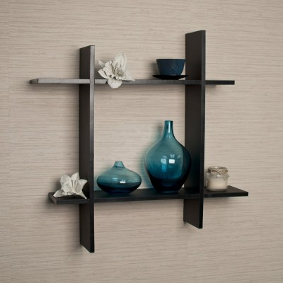 New Look Plus style Wooden Wall Shelf Number of Shelves   2, Black