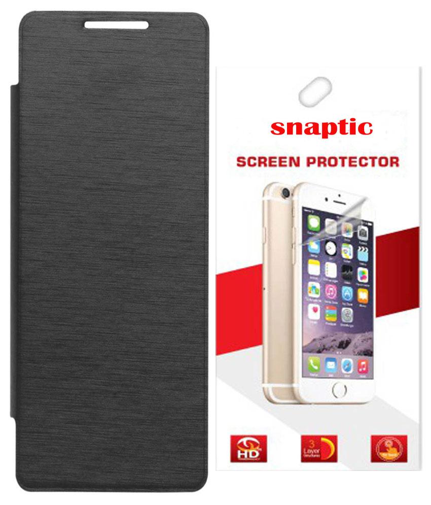 Snaptic Black Flip for Motorola Moto X Play with Screen Guard