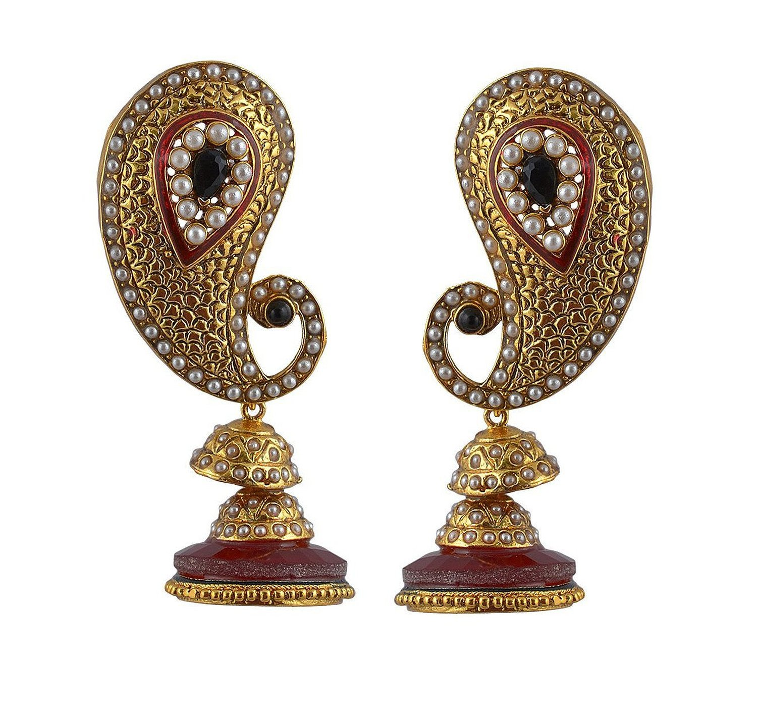Adwitiya Collection Gold Pearls And Red Stones Earrings for Women