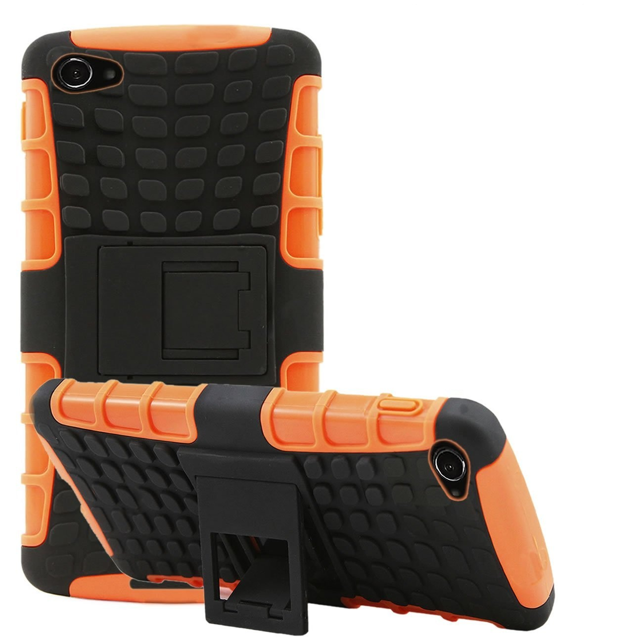 Heartly Flip Kick Stand Spider Hard Dual Rugged Armor Hybrid Bumper Back Case Cover For Sony Xperia E3 And E3 Dual Sim D2203   Mobile Orange