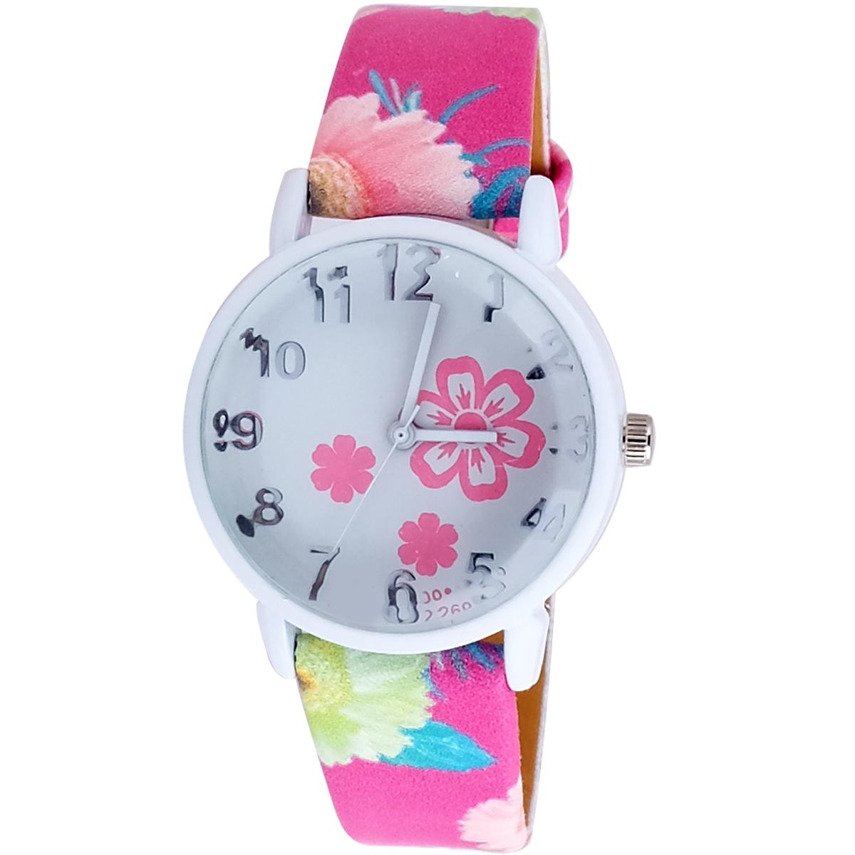 Super Drool Pink Spring Flower Strap Analog Wrist Watch