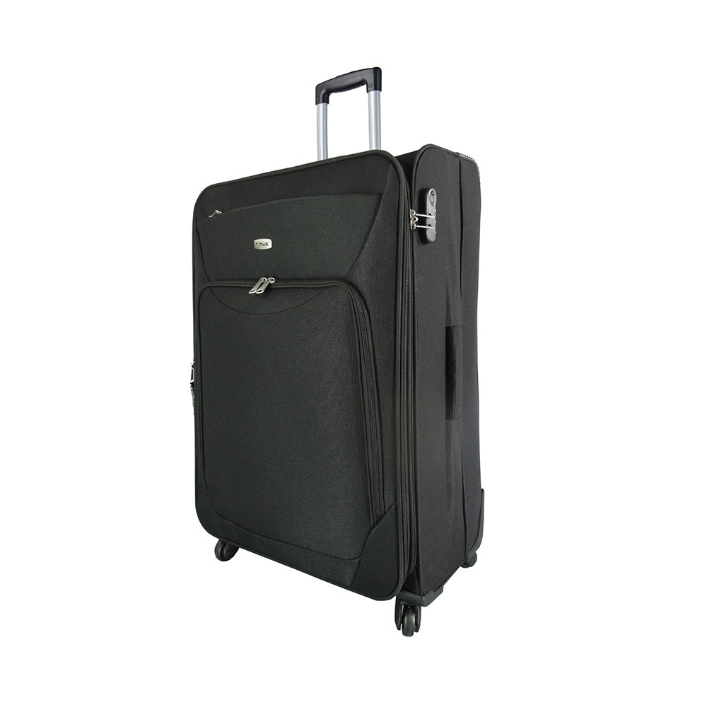 Timus Upbeat Spinner 75CM Black 4 Wheel Trolley Suitcase Expandable Check in Luggage   28 inch  Black