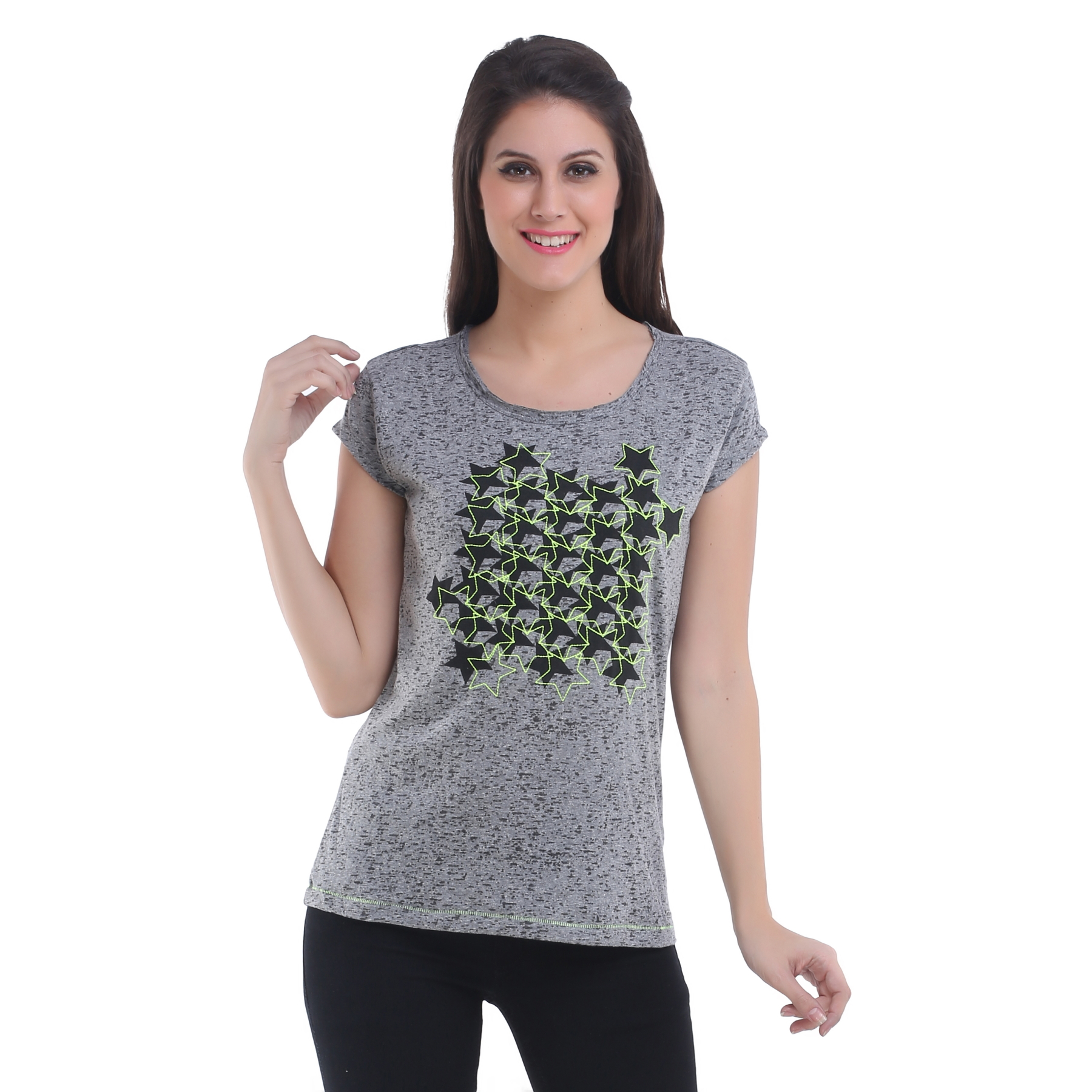 Meish Grey Cotton Printed Casual Top