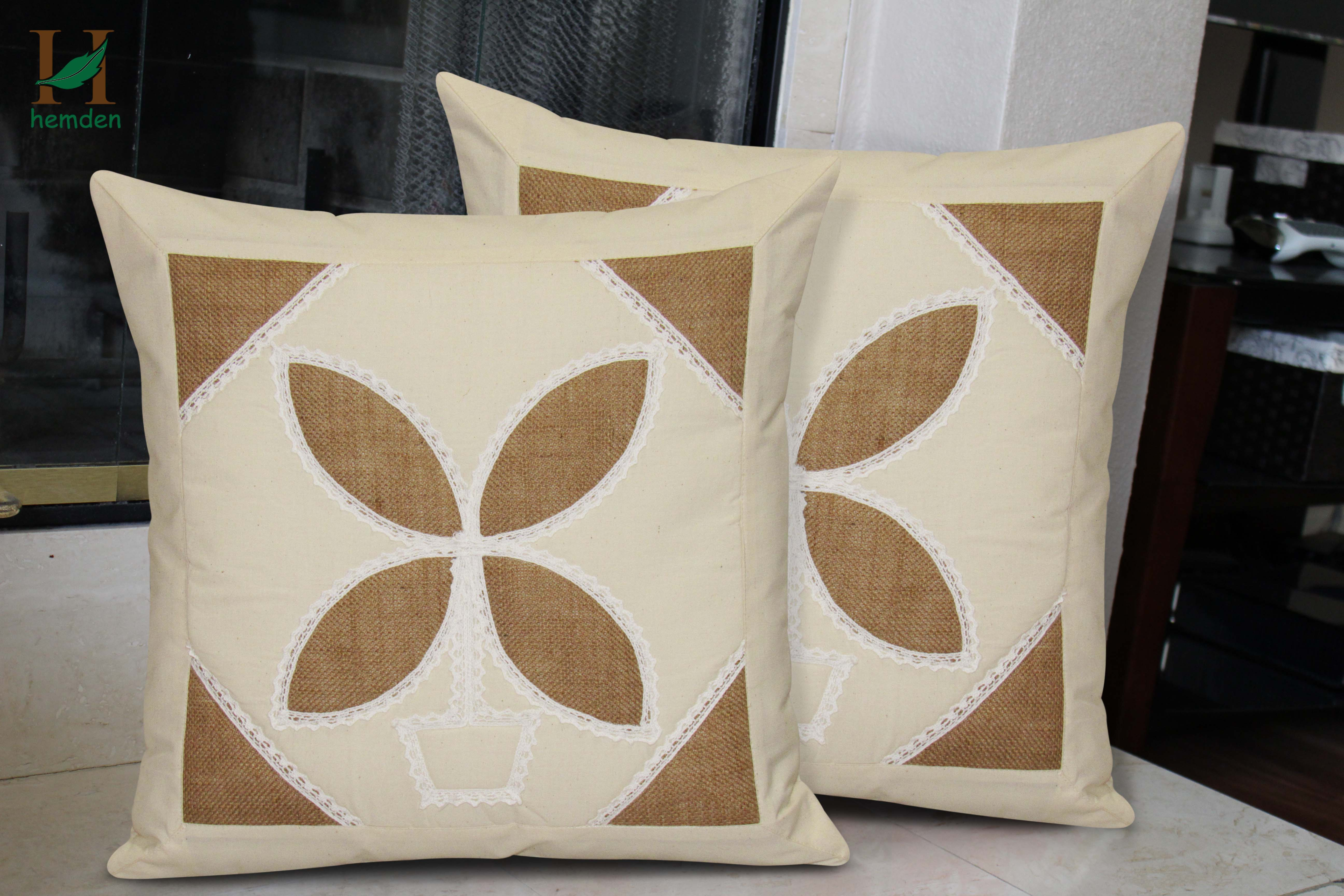 Hemden Floral Cushions Cover Pack of 2, 40 cm40 cm, White, Grey