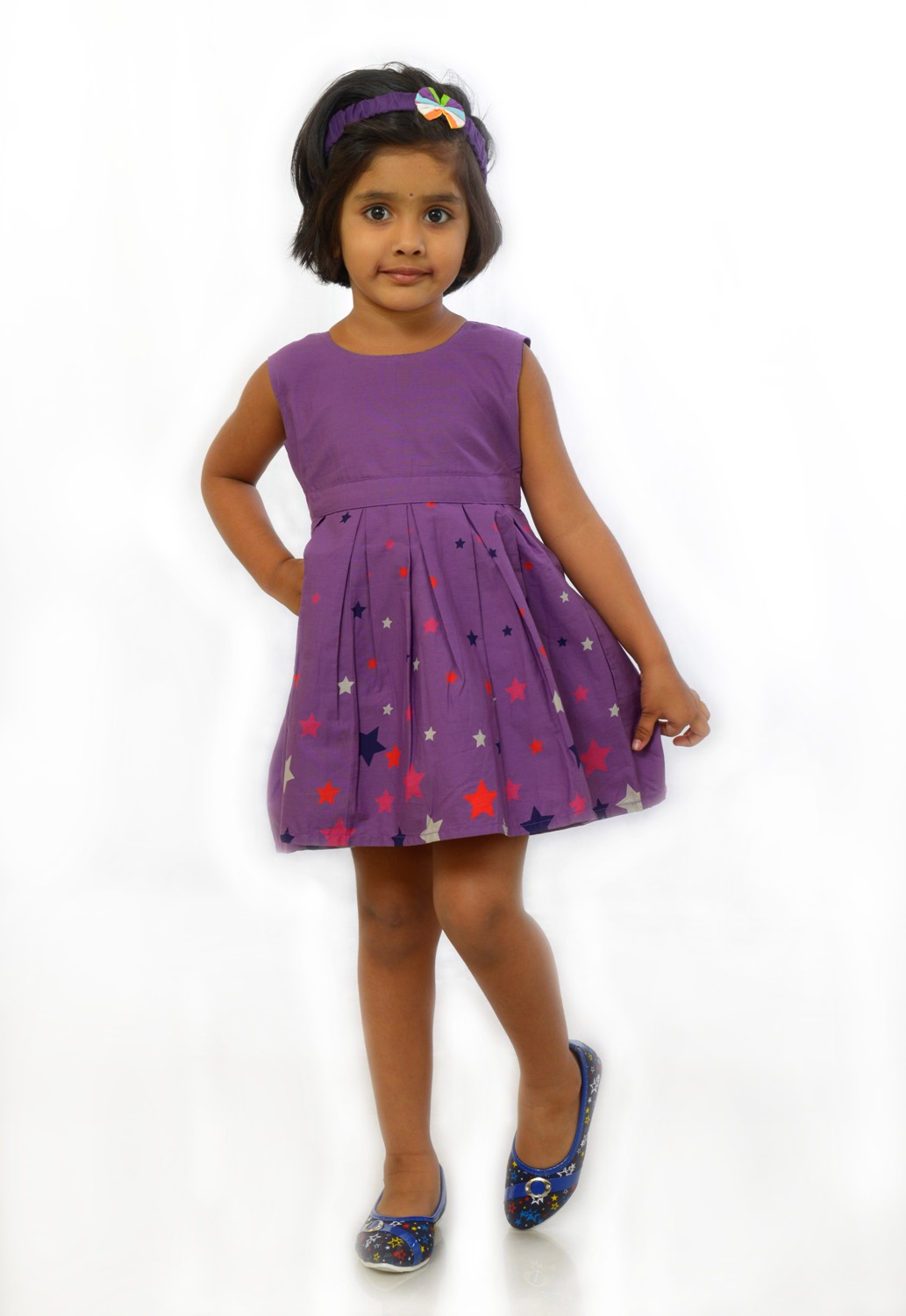JustRoses Purple Printed Cotton Frock For Girl
