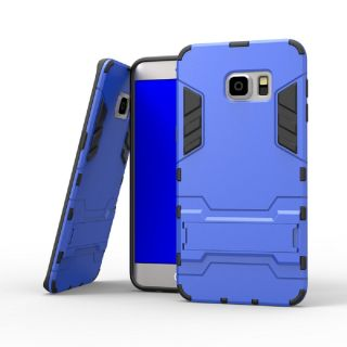 Heartly Graphic Designed Kick Stand Hard Dual Rugged Armor Hybrid Bumper Back Case Cover For Samsung Galaxy S6 Edge SM G925   Power Blue