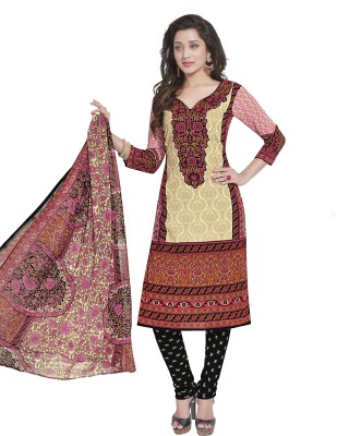 Kavyasarees Crepe Printed Salwar Suit Dupatta Material Un stitched  multicolor