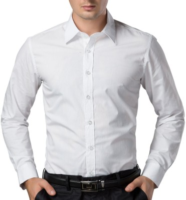 Being Fab Mens Solid Casual White Shirt