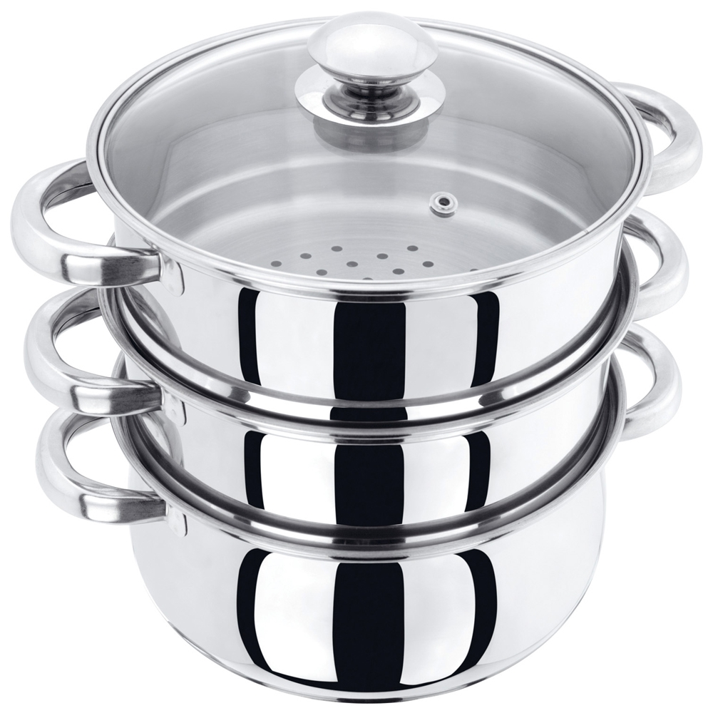 Pristine Tri Ply Induction Base Stainless Steel 3 Tier Multi Purpose Steamer with Glass Lid, 18 cm, 1Piece  3 Separate T