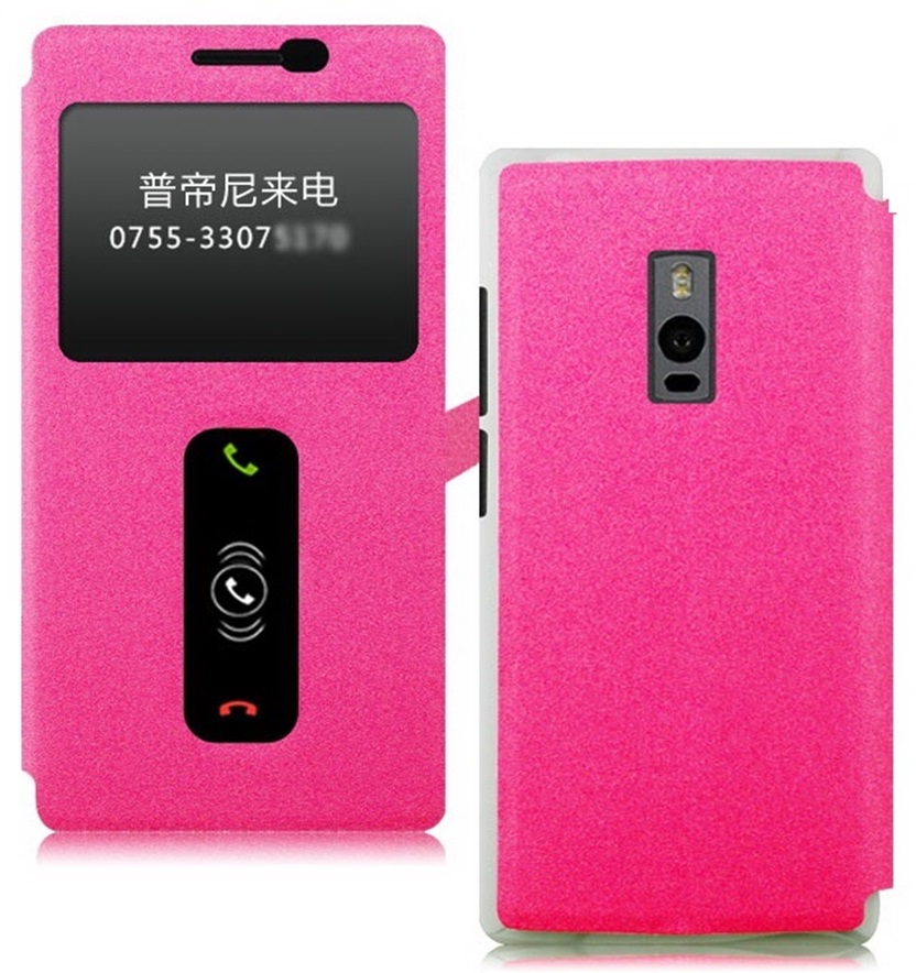 Heartly GoldSand Sparkle Luxury PU Leather Window Flip Stand Back Case Cover For OnePlus 2 Dual Sim   Cute Pink