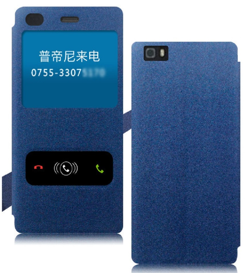 Heartly GoldSand Sparkle Luxury PU Leather Window Flip Stand Back Case Cover For Huawei Ascend P8   Power Blue