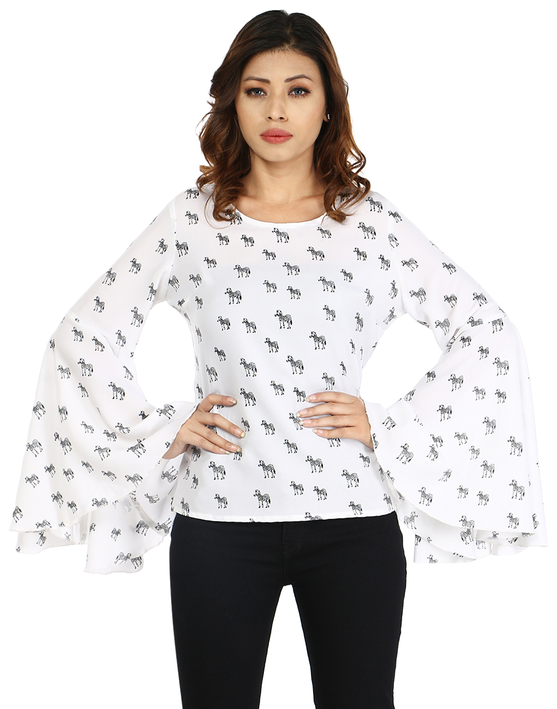 InDzone Casual Bell Sleeve Printed Womens Top