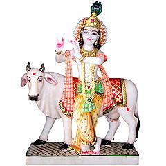 Radha Kishan Krishna with Cow Murti Idol Statue