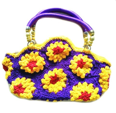 Fashionable Floral Design Cord Bag