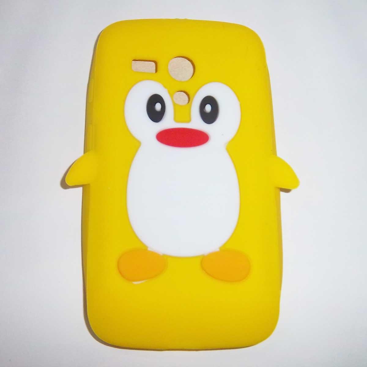 Yellow Silicon Penguin Back Cover Case For Motorola Moto G XT1031 / XT1032