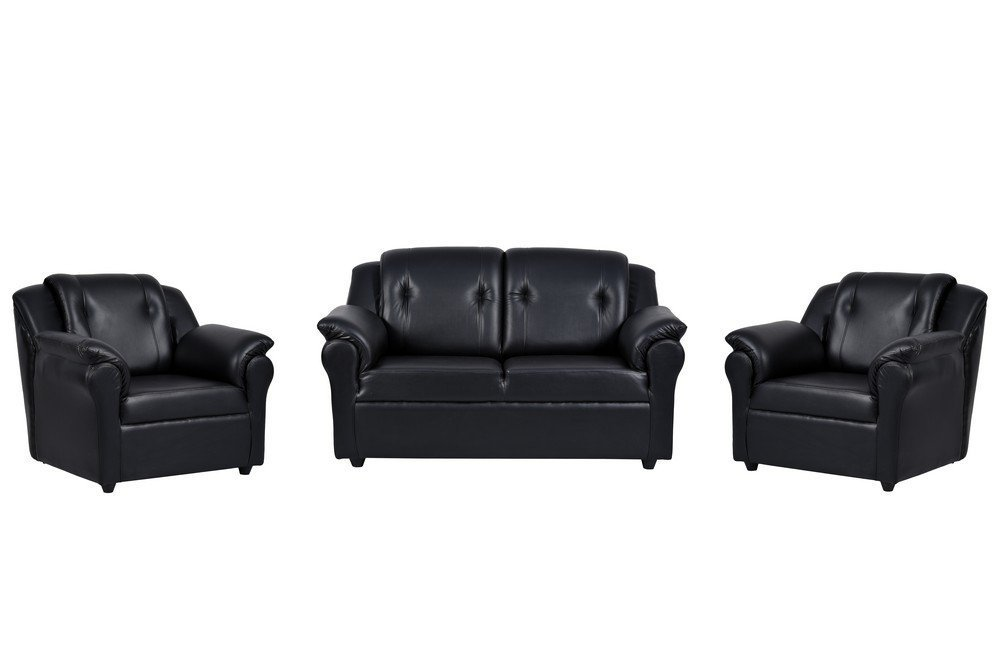 York Four Seater Sofa Set 2 1 1   Black