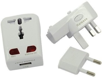 Universal World Travel Adapter with USB Port   White. Worldwide Adaptor White