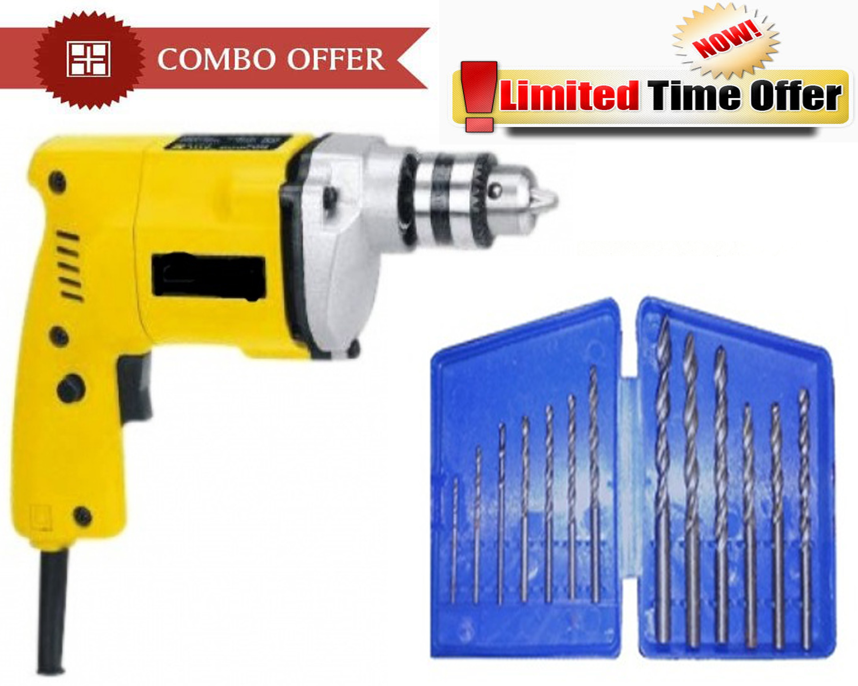 Special Combo Offer! Shopper52 10 mm Drill Machine With 13Pcs Drill Bit Set   CMDRL13B