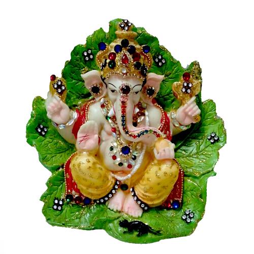 UT Handicraft Green Leaf With Ganesha Showpiece   20 cm