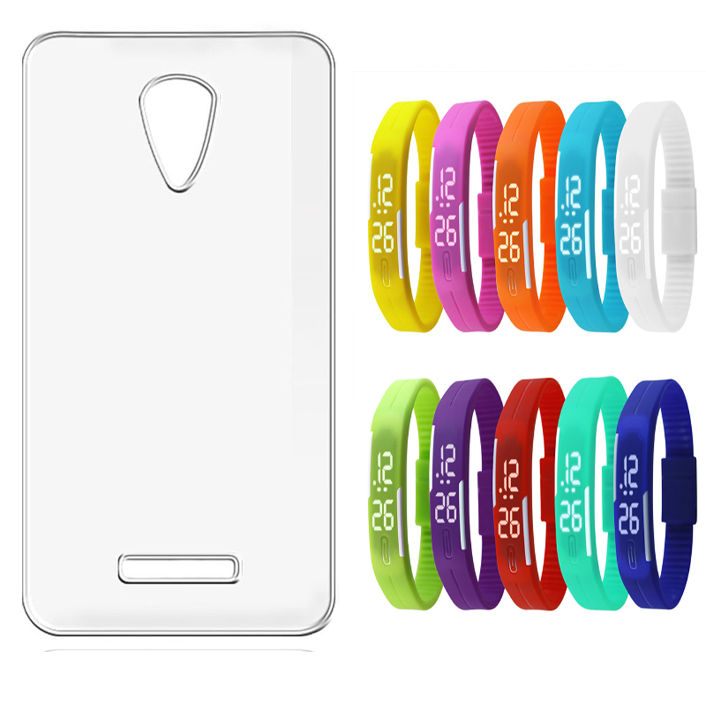 Soft Transparent Back Cover for Oppo Neo 7 with LED Waterproof Jelly Digital Watch