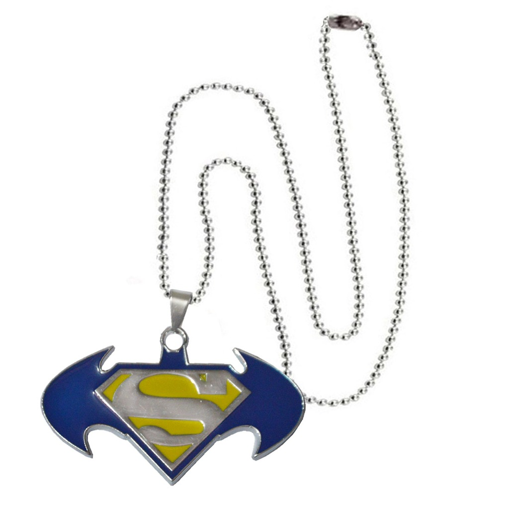 Men Style Batman And Superman Inspired SPn08015 Blue And Yellow Stainless Steel 00 Pendent For Men And Boys