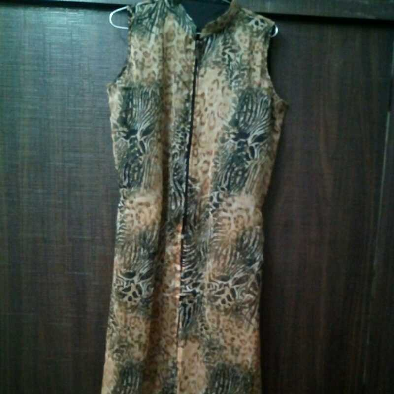 Brown animal print cape top