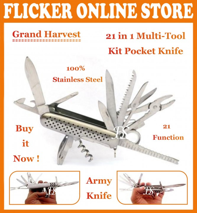 ORIGINAL GRAND HARVEST 21 IN 1 SWI SS ARMY CAMPING KNIFE AND A MULTIPURPOSE TOOLKIT+POUCH