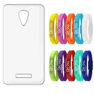 Soft Transparent Back Cover for Sony Xperia C5 Ultra with LED Waterproof Jelly Digital Watch